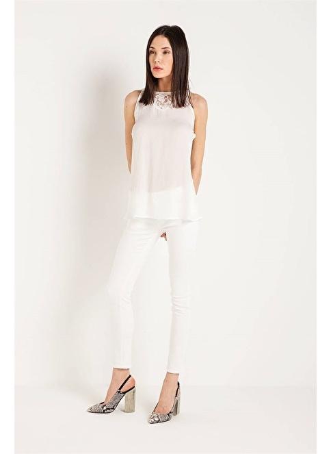 Rue Dantelli Kolsuz Bluz Beyaz